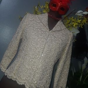 TALBOTS Gold Lace Blazer Jacket 4P